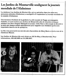 Article de journal : Journée mondiale de l'Alzheimer