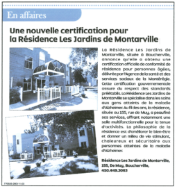 Article de journal : Nouvelle certification
